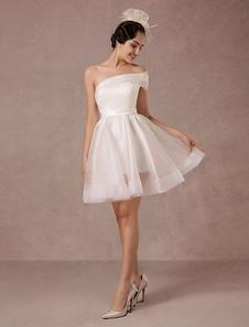 Vestido de Noiva curto Organza Um ombro-A linha de cetim sem alças Mini Verão Vestidos de casamento 2020