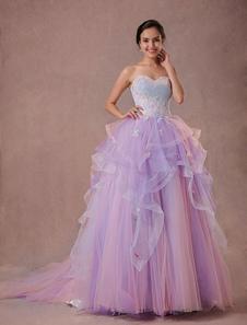 Ulle Pagent кружева бисером платье Quinceanera часовня поезд-линии возлюбленной без бретелек Люкс Принцесса платье