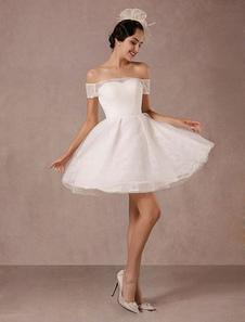 Короткое свадебное платье кружева с плеча мини-Line марочных свадебное платье