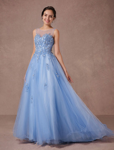 Pizzo blu Wedding Dress Tulle Abito da sposa illusione scollo Applique perline Pageant-line abito cappella treno lusso Quinceanera fragolaAbito