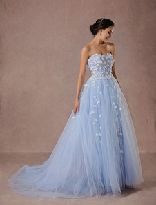Boda azul vestido vestido encaje y Tul capilla tren vestido de novia novia sin tirantes vestido princesa de lujo desfile