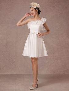 Короткое свадебное платье из органзы Онлайн одно плечо оборками атласная мини свадебное лето свадебные платья 2020