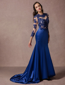 Rendas vestido mangas compridas sereia Backless cetim azul vestido de partido com Tribunal trem