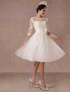 Vestido De Noiva 2020 Curto Vintage Lace Applique Mangas Compridas Tornozelo Comprimento A Linha Tulle Vestido De Noiva Com Flor Sash