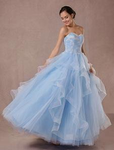 Vestido de noiva azul sem alças sem fitas sem mangas de renda em forma de vestido de festa cauda até ao chão