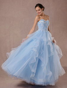 Azul vestido de Novia de la boda vestido de tul Ball vestido encaje apliques vestido rebordear princesa sin respaldo-concurso Vestido