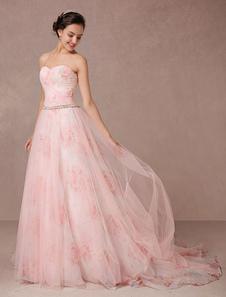 الوردي فستان الزفاف الزهور يطبع تول ثوب الزفاف حمالة الحبيب كوينسينيرا اللباس حجر الراين وشاح عارية الذراعين مهرجان اللباس