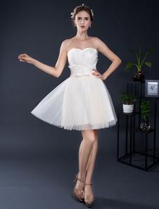 Vestido De Casamento 2020 Curto Sem Alças Mini Lace Applique Querida Vestido De Noiva Curto A Linha Costas Aberta Ilusão Vestido De Homecoming