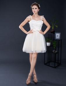 Кружева свадебное платье короткие тюль Милая-Line рябить мини свадебное платье рукава Homecoming платье