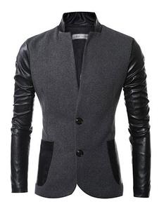 Blazer Casual dois tons masculino emendando gola alta manga longa botão frontal modelagem Blazer de algodão