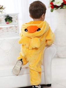 Costume Carnevale Anatra Costume Kigurumi flanella tuta pigiama carino animale pigiameria In giallo per il bimbo