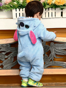 Kigurumi بيجامة غرزة نيسيي الاطفال الأزرق الفانيلا ملابس النوم زي هالوين