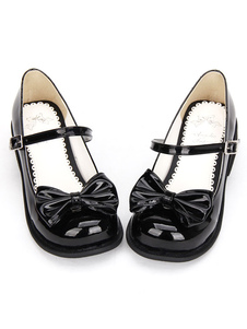 Sapatos de Lolita doce preto arco Chunky calcanhar redondo Toe sapatos do tornozelo cinta Mary Jane