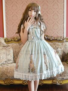 ロリィタドレス リボン スウィート 綿繊維 ストラップ カジュアル プリント柄