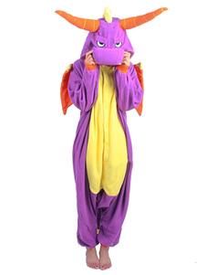 Disfraz Carnaval Kigurumi pijamas dinosaurio mono franela púrpura traje adulto del Animal Halloween Carnaval