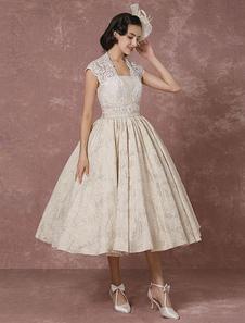 Vestido de noiva Casamento curto laço champanhe Vintage bola  chá-comprimento com faixa Milanoo