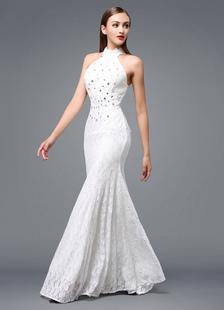 Пляж Свадьба платье кружева спинки вечернее платье недоуздок бисером этаж длины платье партии