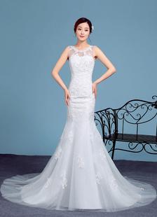 Русалка свадебное платье кружева аппликация иллюзия рукавов свадебное платье Часовня поезд свадебное платье