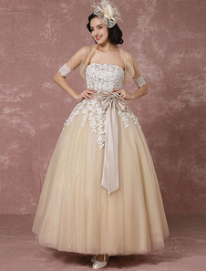 Кружева свадебное платье тюль шампанское свадебное платье с пожал плечами мыс бальное платье без бретелек Милая лента лук пояс лодыжки для новобрачных платье Milanoo