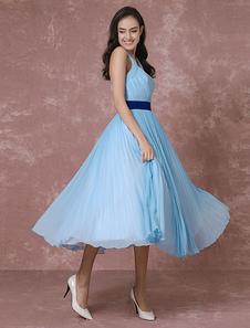 Sposa vintage abito abito da sposa corto blu Halter Chiffon plissettato abito da Cocktail Tea-lunghezza Party Dress Milanoo