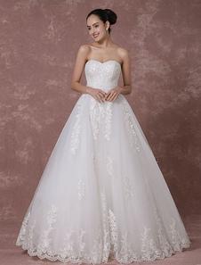 Кружева свадебное платье возлюбленной без бретелек спинки свадебное платье-Line бисером роскоши свадебное платье