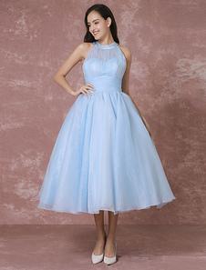 Vestido de Casamento azul  curto tule Vintage Halter Backless bola Coquetel Milanoo