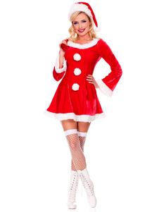 Natal sexy fantasia de Papai Noel vermelho redondo pescoço vestido de Midi de manga comprida com chapéu Halloween