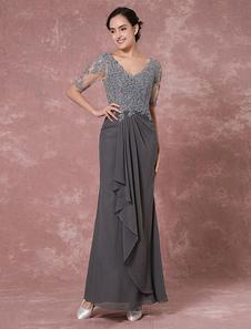 Макси кружева мать платье серый шифон платье вечернее платье V-задней бисером свадебное платье