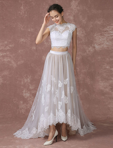 Урожай Топ кружева свадебное платье высокая низкая тюль свадебное платье назад дизайн суд поезд свадебное платье с шеи иллюзия Milanoo