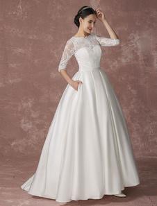 Атласная принцесса свадебное платье шнурка мяч бальное платье свадебное платье половина рукава спинки суд поезд свадебное платье с рукой карман Milanoo