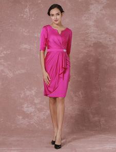 Тафты мать платье половина рукава платье для коктейля колено Leangth Плиссированные платье партии Фушия