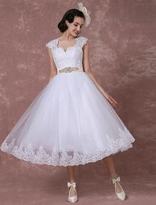 Старинный свадебное платье короткий кружева тюль свадебное платье обратно дизайн чай длина-Line прием свадебное платье с поясом съемный лук горный хрусталь Milanoo