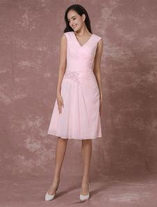 Dama rosa vestido vestido corto vestido de Cóctel de encaje apliques rebordear plisado rodilla vestido de ocasión