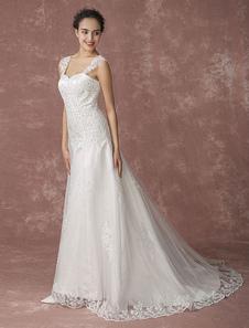 Vestido de noiva Querida  laço   perolização sem encosto com cauda