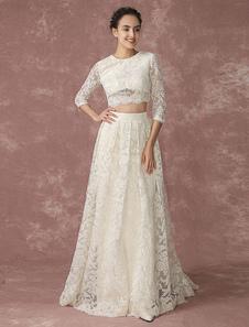 Урожай Топ кружева свадебное платье назад дизайн карманы свадебное платье четверть рукава Церемониальный шлейф Свадебное платье Milanoo