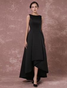 Vestidos de fiesta largos Vestido de noche 2020 de tafetán negro sin mangas con escote barco