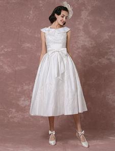 Vintage свадебное платье атласная короткое свадебное платье кружево отбортовывать чай длины прием свадебное платье съемный лук Sash Milanoo