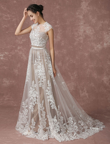 結婚式ドレス ウェディングドレス ブライダルドレス ツーピース レース Aライン トレーン付き 夏 二次会 前撮り 結婚写真 フォトウェディング Milanoo