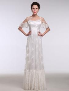 Летние свадебные платья 2020 Boho Beach Lace Illusion Ruffle с коротким рукавом Свадебные платья до пола Сдвиг свадебное платье