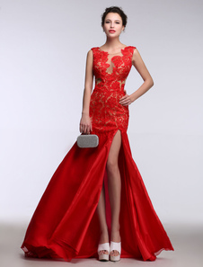 Pizzo abito da sera rosso sirena occasione Abito illusione senza schienale Split raso Party Dress con spazzola treno