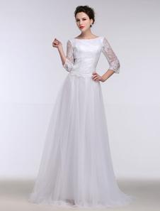 Летние свадебные платья 2020 Белое кружево Bateau половину рукава свадебное платье Keyhole ленты лук развертки поезд свадебное платье