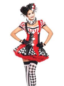 Disfraz Carnaval Harley Quinn Jester Clown traje de circo Traje de carnaval de las mujeres Halloween Carnaval