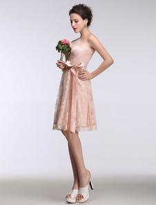 Rosa de Dama de honor vestido de encaje corto de baile vestido de noche sin mangas un línea cinta arco faja rodilla vestido de fiesta