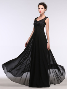 Vestido de noche negro sin mangas con cuello en V