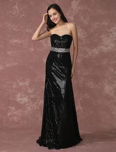 Abito da sera nero con paillettes Party Dress senza spalline Mermaid perline occasione vestito