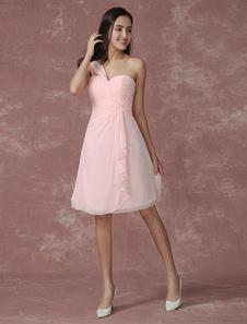 Blush de Dama de honor vestido rosa gasa solo hombro volante acanalada un línea rodilla boda vestido de fiesta