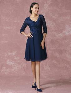 Vestido de mãe de noivos do laço V pescoço vestido  joelho comprimento festa Milanoo