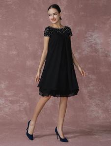Vestido para la madre de los novios 2020  negro con escote redondo con manga corta con cuentas
