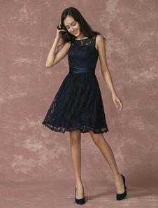 Vestido de cóctel de color azul marino oscuro con escote redondo sin mangas con faja