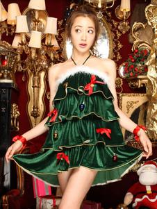 Costume Carnevale Sexy Costume Halter verde balza a più livelli albero di Natale vestito con pantaloncini